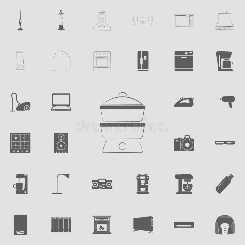 icono del vapor del logotipo Sistema universal de los electro iconos para el web y el móvil stock de ilustración
