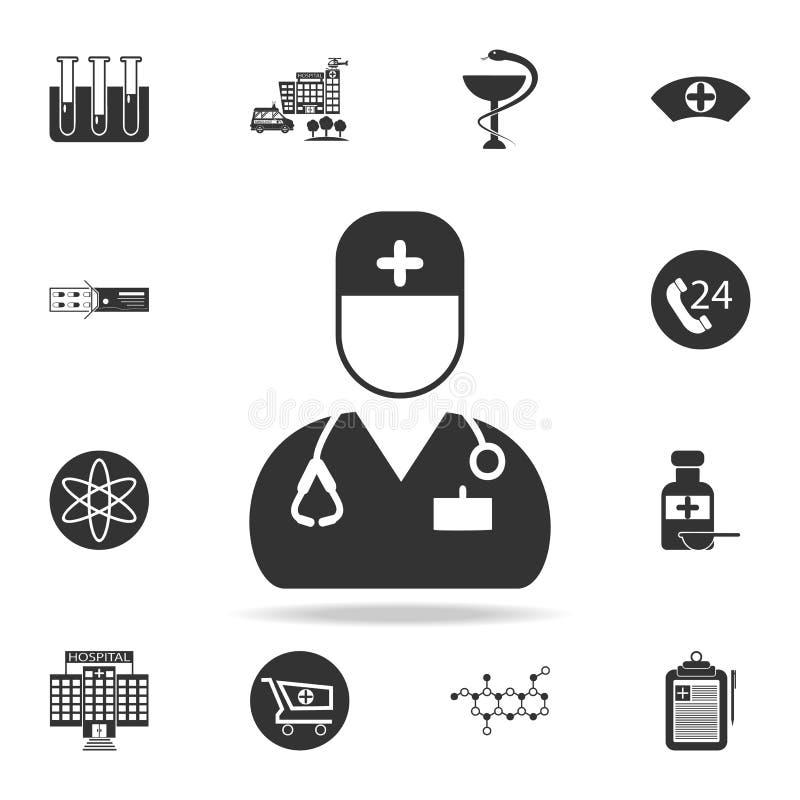 Icono del varón de la enfermera Sistema detallado del ejemplo del elemento de la medicina Diseño gráfico de la calidad superior U stock de ilustración