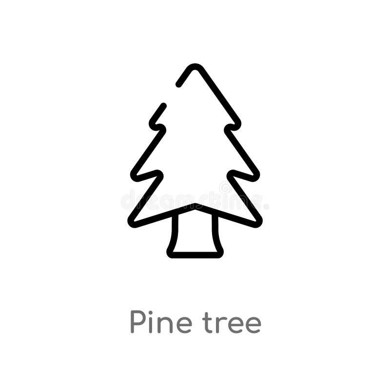 icono del vector del árbol de pino del esquema línea simple negra aislada ejemplo del elemento del concepto de la naturaleza pino ilustración del vector