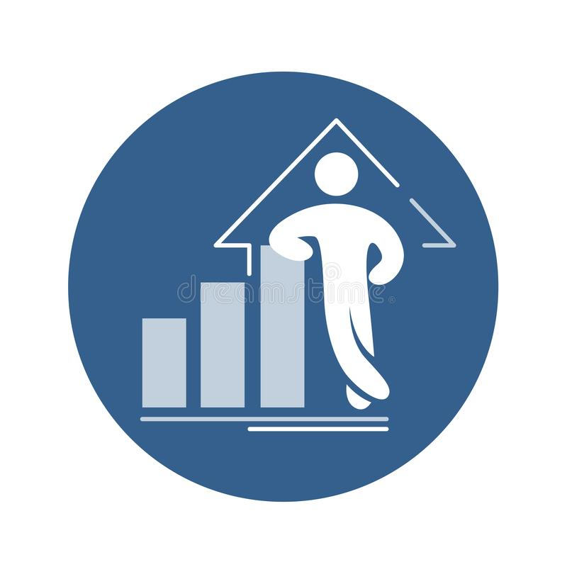 Icono del vector del éxito Gráfico cada vez mayor de la plantilla abstracta con la figura confiada ilustración del vector