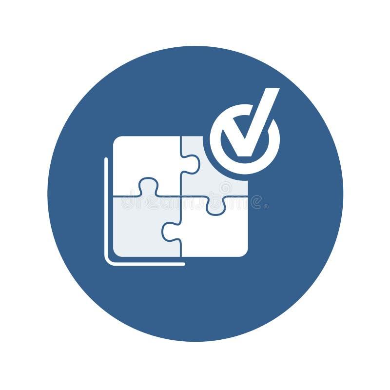 Icono del vector del éxito Rompecabezas montado plantilla abstracta con la señal hecha libre illustration