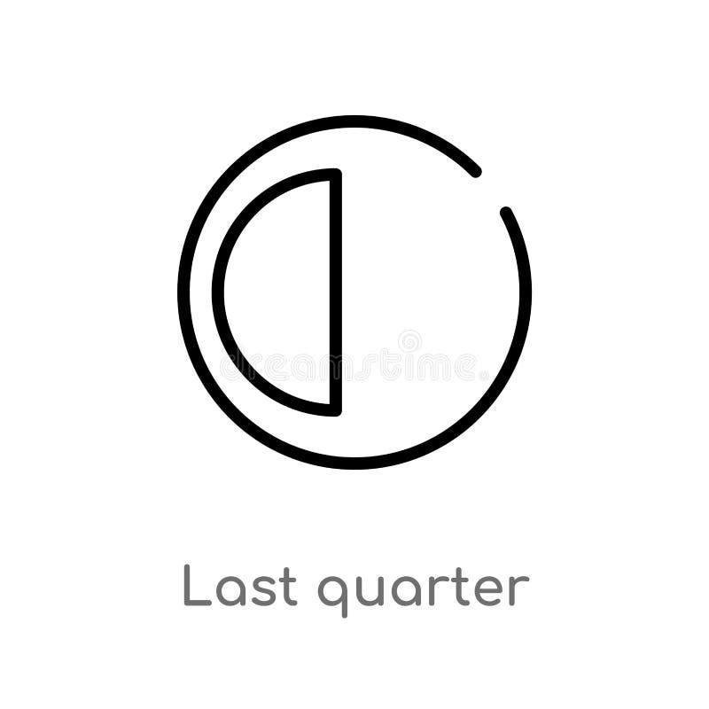 icono del vector del último trimestre del esquema línea simple negra aislada ejemplo del elemento del concepto del tiempo Movimie ilustración del vector
