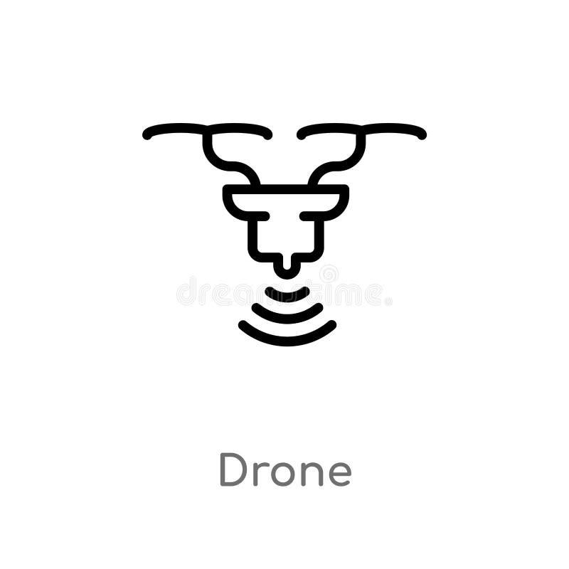 icono del vector del abejón del esquema línea simple negra aislada ejemplo del elemento del concepto de la inteligencia artificia stock de ilustración