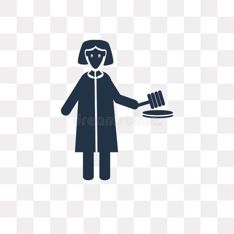 Icono del vector del abogado de la mujer aislado en el fondo transparente, Wom stock de ilustración
