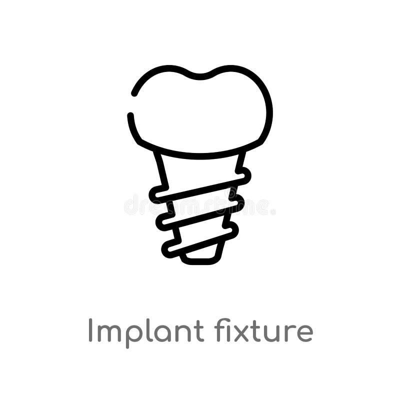 icono del vector del accesorio del implante del esquema línea simple negra aislada ejemplo del elemento del concepto del dentista stock de ilustración