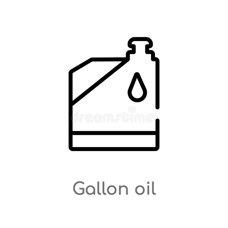 icono del vector del aceite del galón del esquema línea simple negra aislada ejemplo del elemento del concepto de las herramienta stock de ilustración