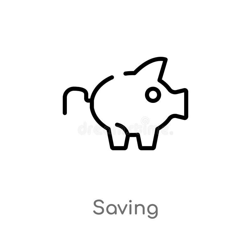 icono del vector del ahorro del esquema l?nea simple negra aislada ejemplo del elemento del concepto de los alimentos de preparac libre illustration