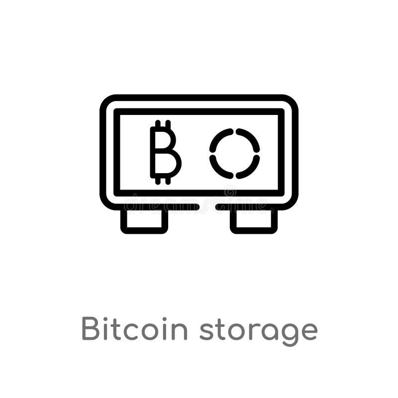 icono del vector del almacenamiento del bitcoin del esquema l?nea simple negra aislada ejemplo del elemento del concepto de las m ilustración del vector