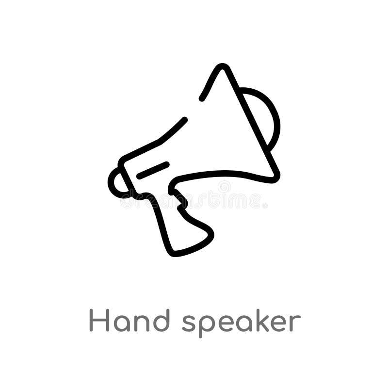 icono del vector del altavoz de la mano del esquema línea simple negra aislada ejemplo del elemento del concepto de comercializac ilustración del vector