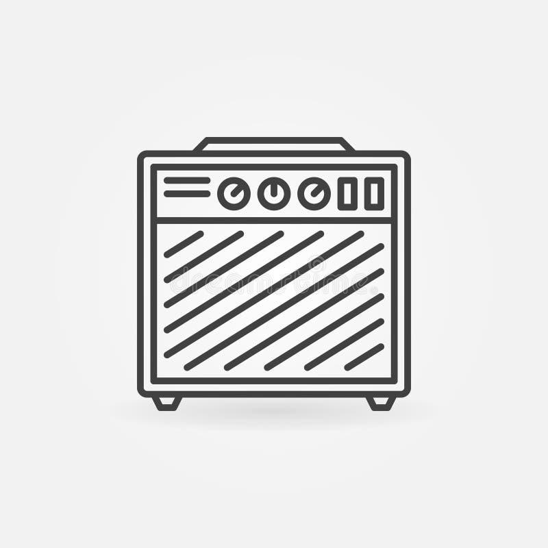 Icono del vector del amplificador de la guitarra en la línea estilo fina stock de ilustración