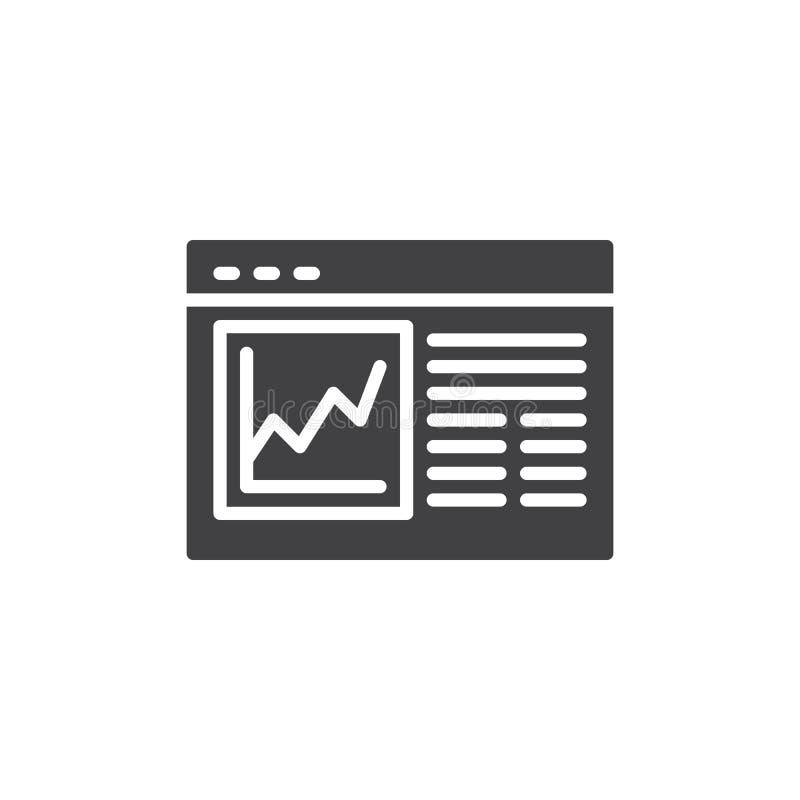 Icono del vector del análisis de la página web ilustración del vector