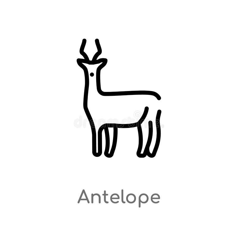 icono del vector del antílope del esquema l?nea simple negra aislada ejemplo del elemento del concepto de los animales Movimiento ilustración del vector