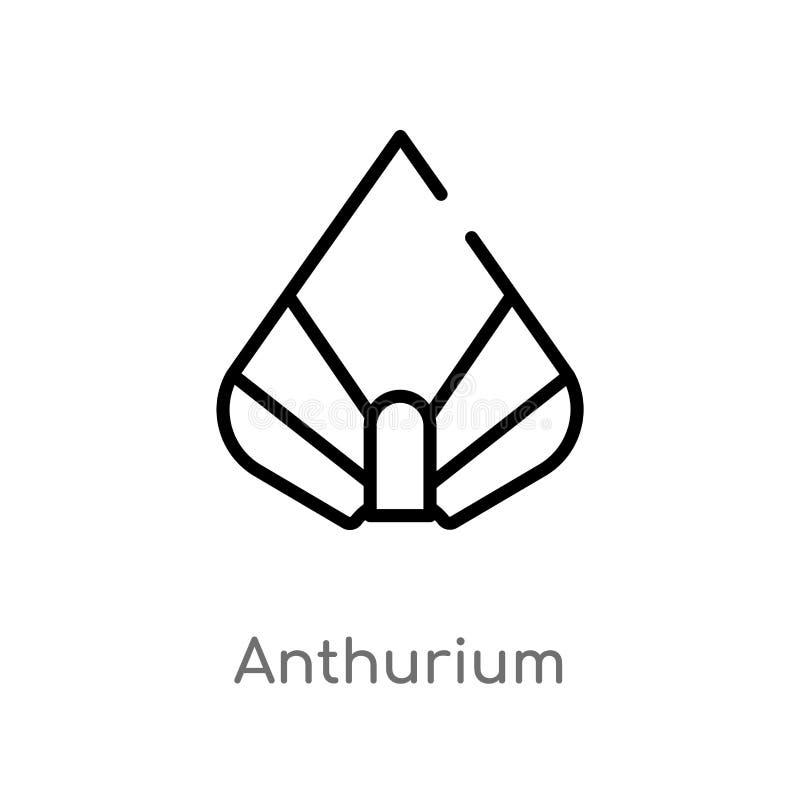 icono del vector del Anthurium del esquema l?nea simple negra aislada ejemplo del elemento del concepto de la naturaleza Movimien ilustración del vector