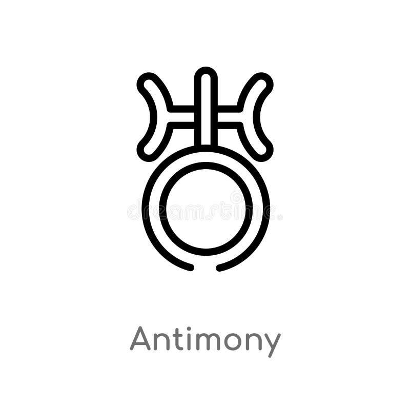 icono del vector del antimonio del esquema línea simple negra aislada ejemplo del elemento del concepto del zodiaco antimonio edi stock de ilustración