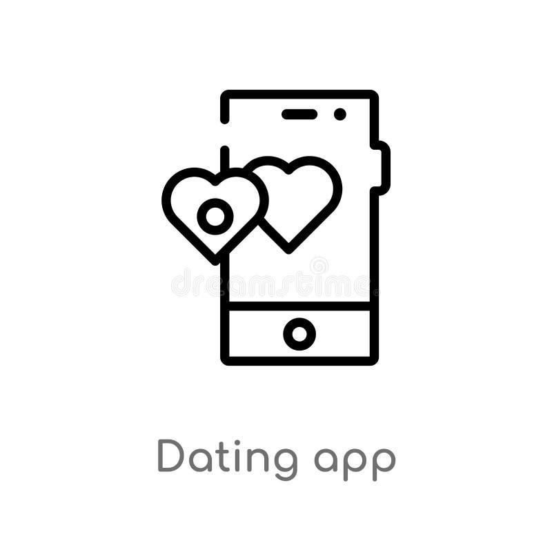 icono del vector del app de la dataci?n del esquema l?nea simple negra aislada ejemplo del elemento del amor y del concepto el ca libre illustration