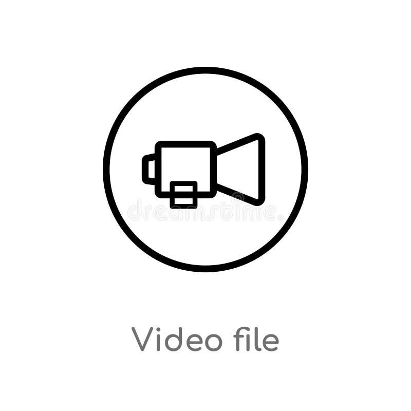 icono del vector del archivo de vídeo del esquema l?nea simple negra aislada ejemplo del elemento del concepto de la interfaz de  ilustración del vector
