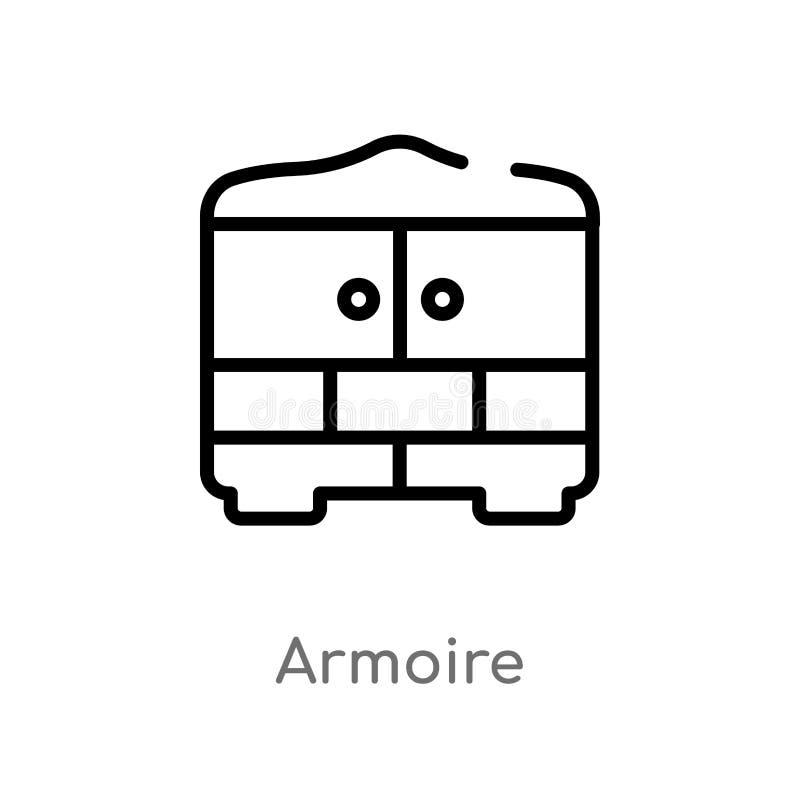 icono del vector del armoire del esquema l?nea simple negra aislada ejemplo del elemento del concepto de los muebles y del hogar  stock de ilustración