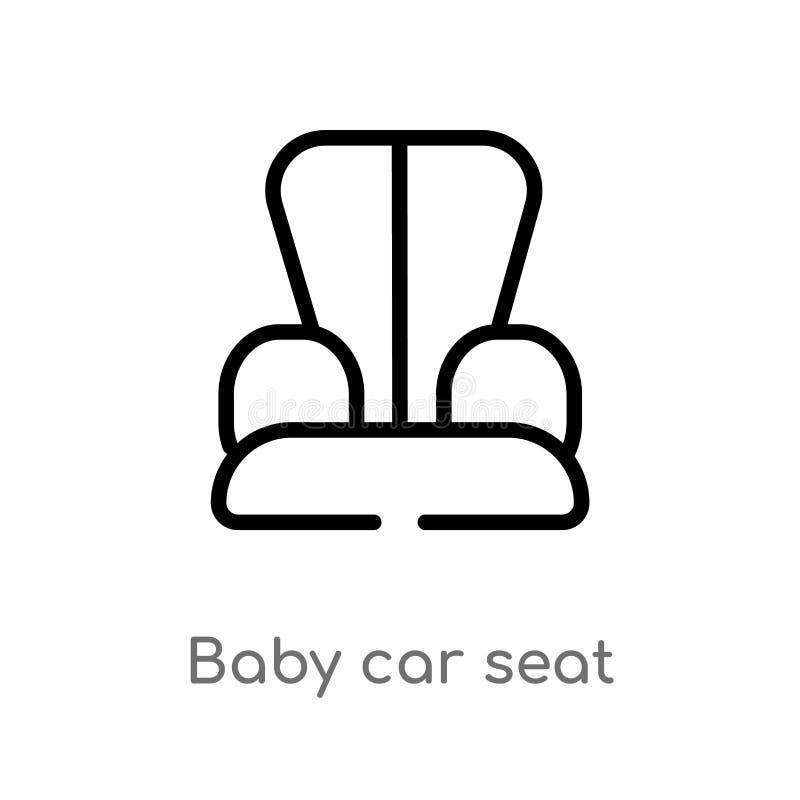 icono del vector del asiento de carro del bebé del esquema línea simple negra aislada ejemplo del elemento de niños y del concept ilustración del vector