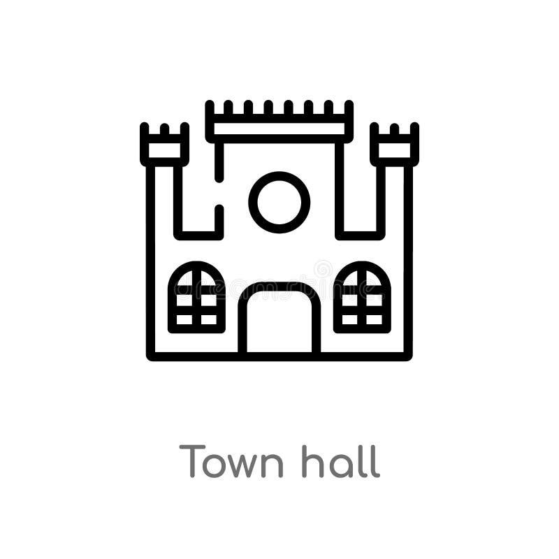 icono del vector del ayuntamiento del esquema l?nea simple negra aislada ejemplo del elemento del concepto de los edificios ciuda libre illustration