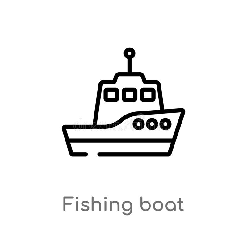 icono del vector del barco de pesca del esquema línea simple negra aislada ejemplo del elemento del concepto del transporte Movim libre illustration