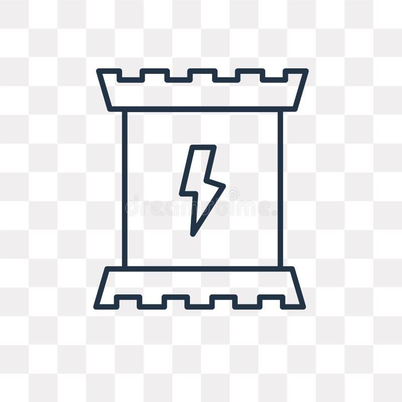 Icono del vector del bocado de la energía aislado en el fondo transparente, lin stock de ilustración
