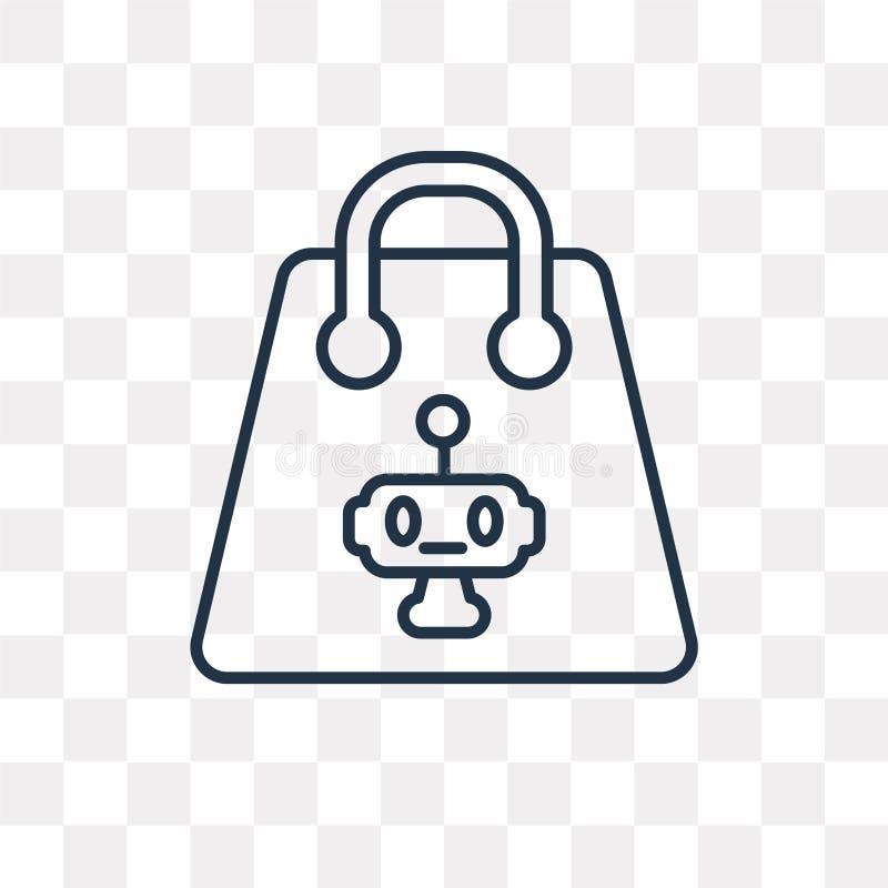 Icono del vector del bolso de compras aislado en el fondo transparente, lin libre illustration