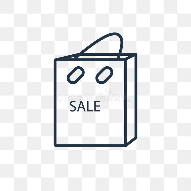 Icono del vector del bolso de compras aislado en el fondo transparente, lin stock de ilustración
