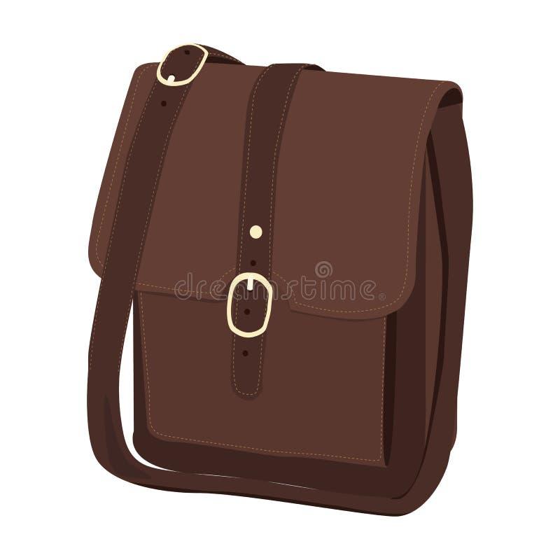 Icono del vector del bolso de cuero del cartero en un fondo blanco Ejemplo marrón del bolso de los hombres aislado en blanco Real ilustración del vector
