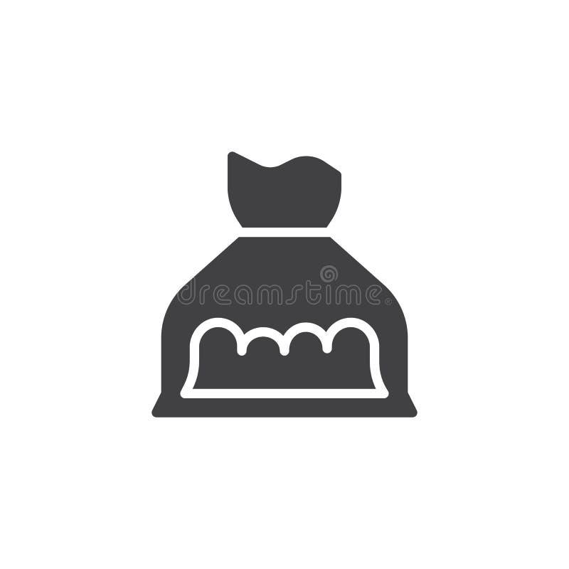 Icono del vector del bolso de la cocaína stock de ilustración