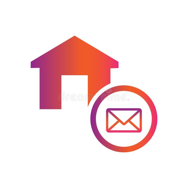 Icono del vector del botón del correo del sobre del hogar/de la casa stock de ilustración