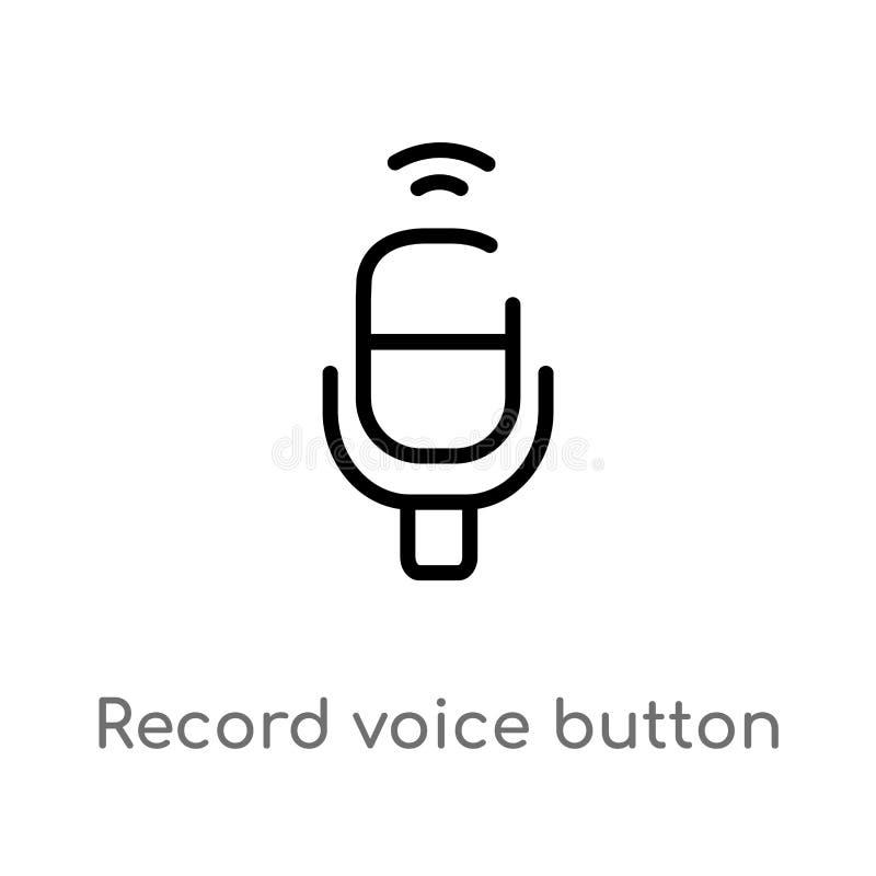 icono del vector del botón de la voz del expediente del esquema línea simple negra aislada ejemplo del elemento del concepto de l libre illustration