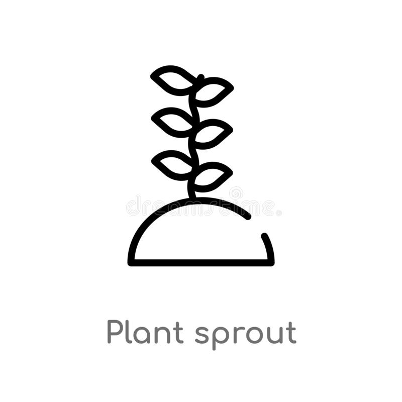 icono del vector del brote de la planta del esquema l?nea simple negra aislada ejemplo del elemento de la agricultura que cultiva ilustración del vector