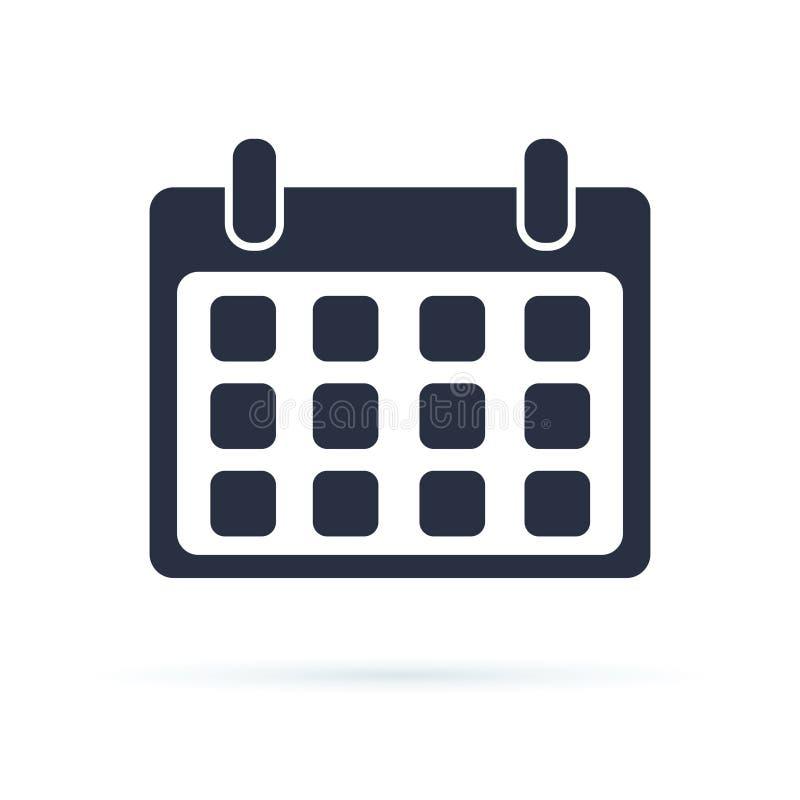 Icono del vector del calendario Un icono ilustrado aislado en un calendario diario del fondo Elemento del diseño de UI UX para la stock de ilustración
