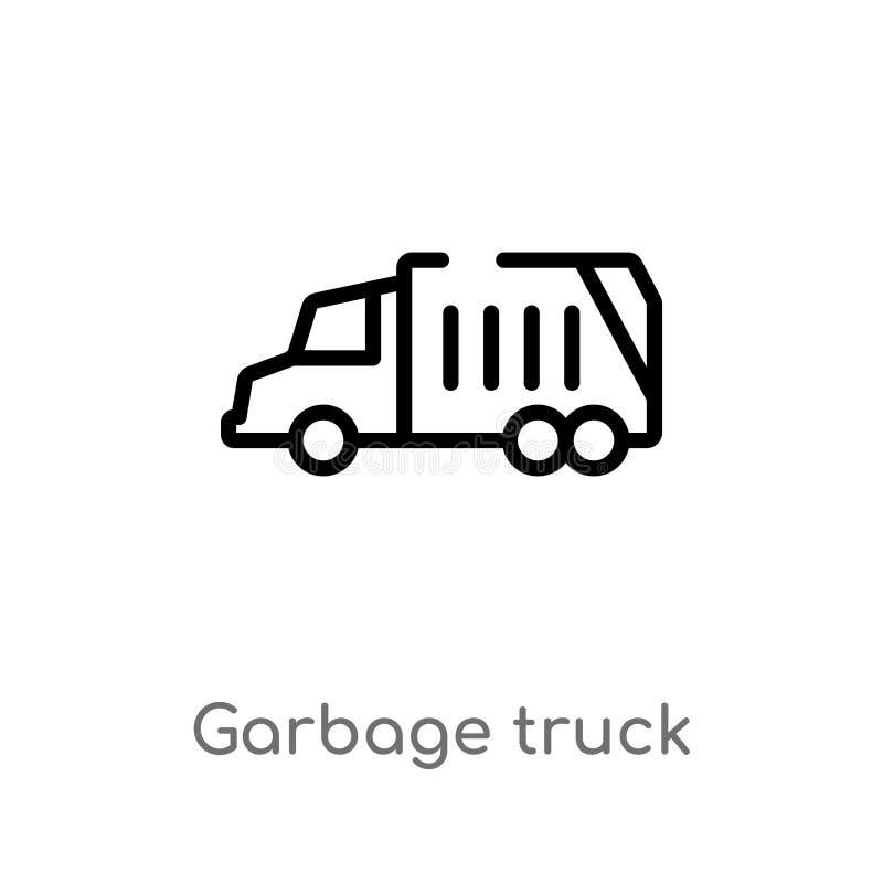 icono del vector del camión de basura del esquema línea simple negra aislada ejemplo del elemento del concepto de limpieza Movimi stock de ilustración