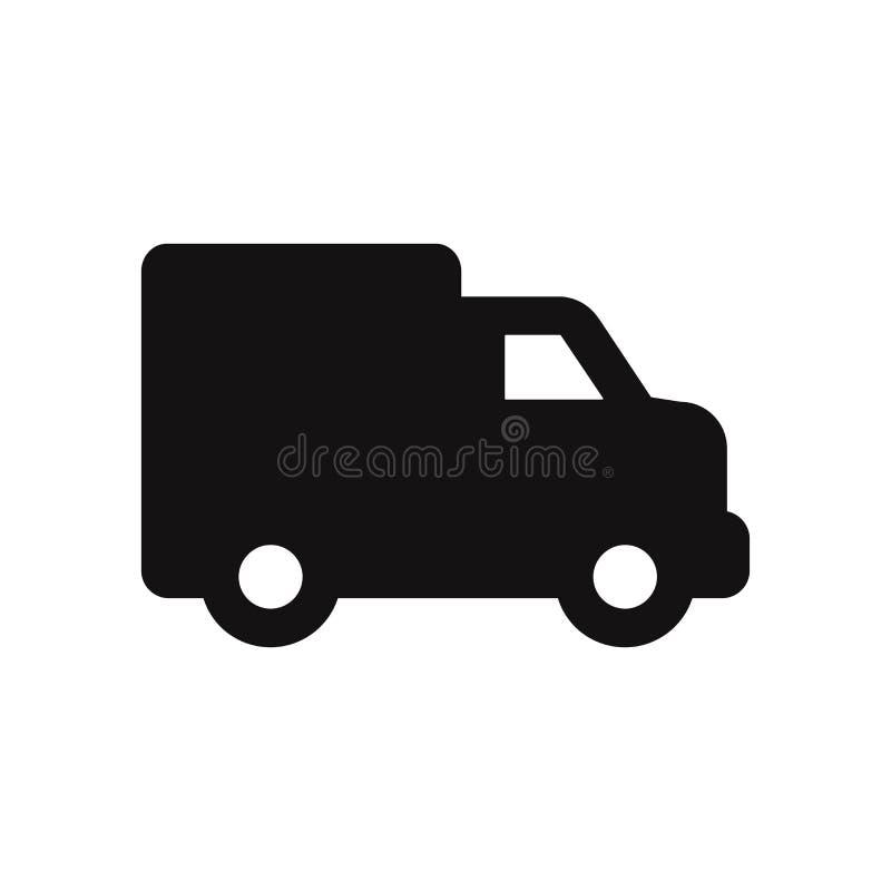 Icono del vector del camión de reparto Entrega Van Isolated en el fondo blanco libre illustration