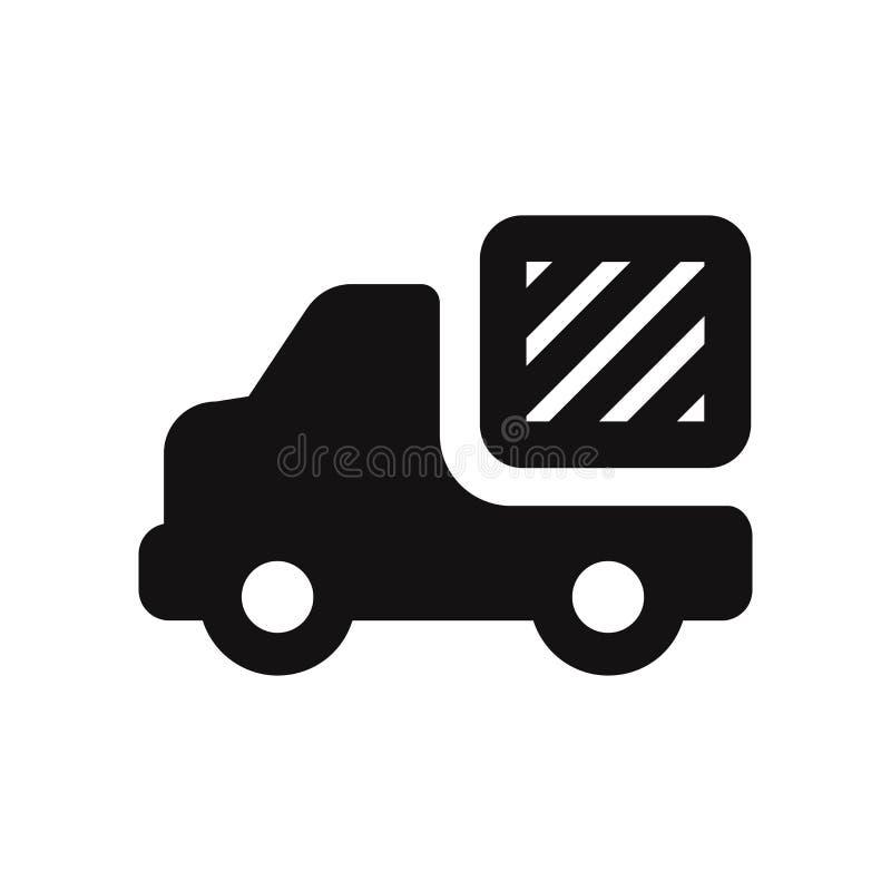 Icono del vector del camión de reparto Símbolo del camión del cargo en el fondo blanco stock de ilustración