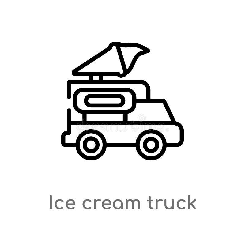 icono del vector del camión del helado del esquema l?nea simple negra aislada ejemplo del elemento del concepto de la comida hiel ilustración del vector