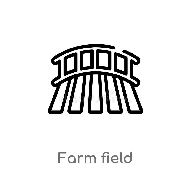 icono del vector del campo de granja del esquema l?nea simple negra aislada ejemplo del elemento de la agricultura que cultiva co ilustración del vector