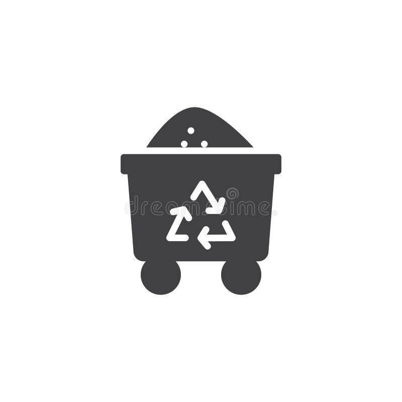 Icono del vector del carro de la basura libre illustration