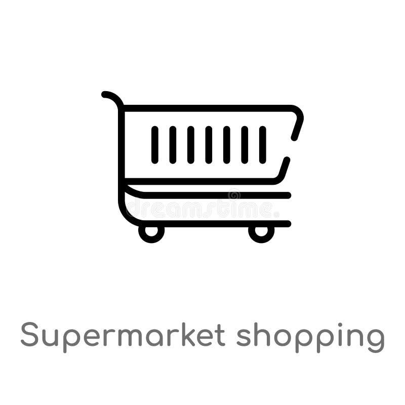 icono del vector del carro de la compra del supermercado del esquema l?nea simple negra aislada ejemplo del elemento del concepto stock de ilustración
