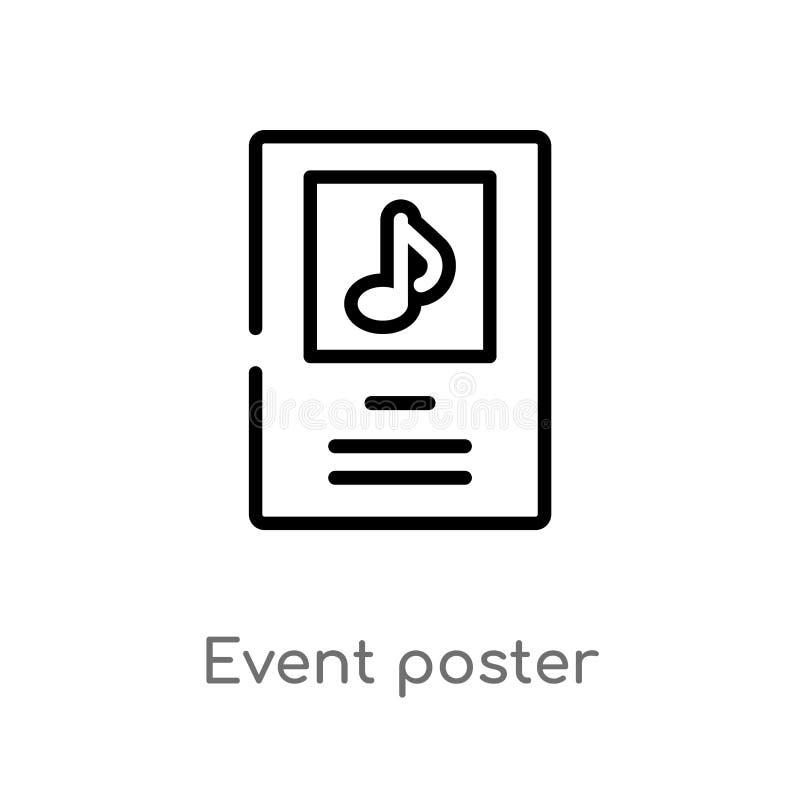 icono del vector del cartel del acontecimiento del esquema línea simple negra aislada ejemplo del elemento del concepto de la mús libre illustration