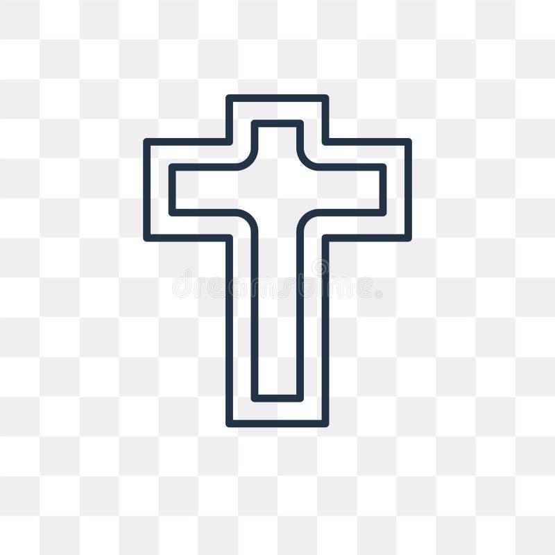 Icono del vector del catolicismo en el fondo transparente, línea libre illustration