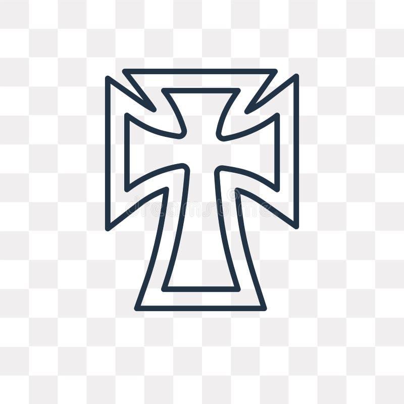 Icono del vector del catolicismo en el fondo transparente, línea stock de ilustración