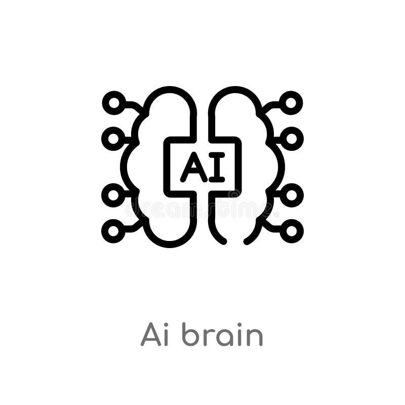 icono del vector del cerebro del ai del esquema l?nea simple negra aislada ejemplo del elemento del concepto artificial del intel ilustración del vector