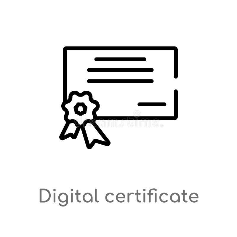 icono del vector del certificado digital del esquema l?nea simple negra aislada ejemplo del elemento del concepto de la interfaz  libre illustration