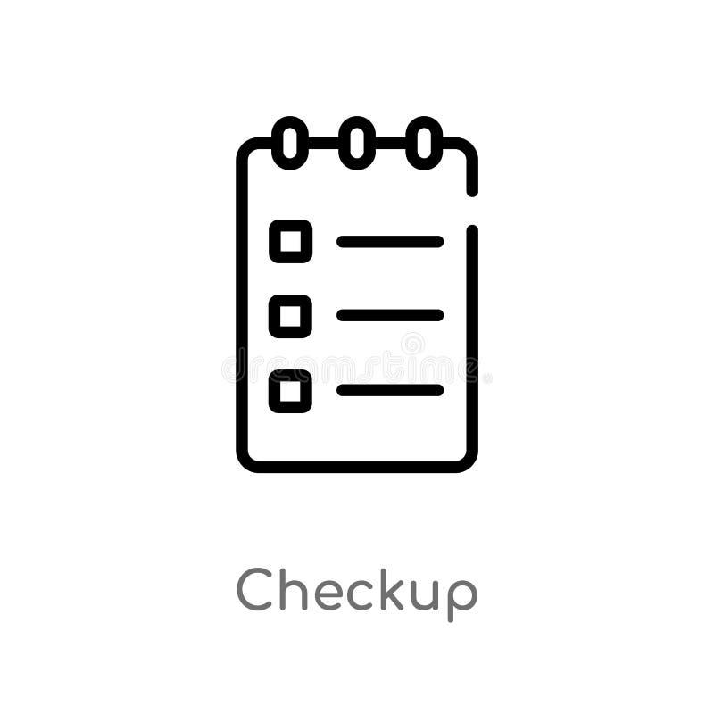 icono del vector del chequeo del esquema línea simple negra aislada ejemplo del elemento del concepto del usuario chequeo editabl stock de ilustración