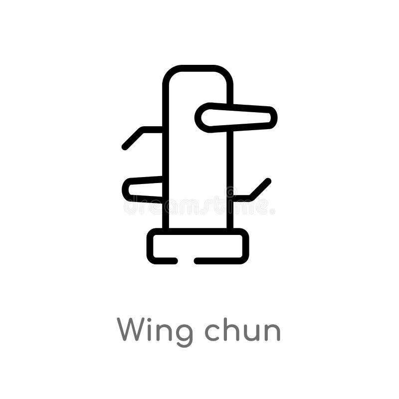 icono del vector del chun del ala del esquema línea simple negra aislada ejemplo del elemento de deportes y del concepto de la co ilustración del vector