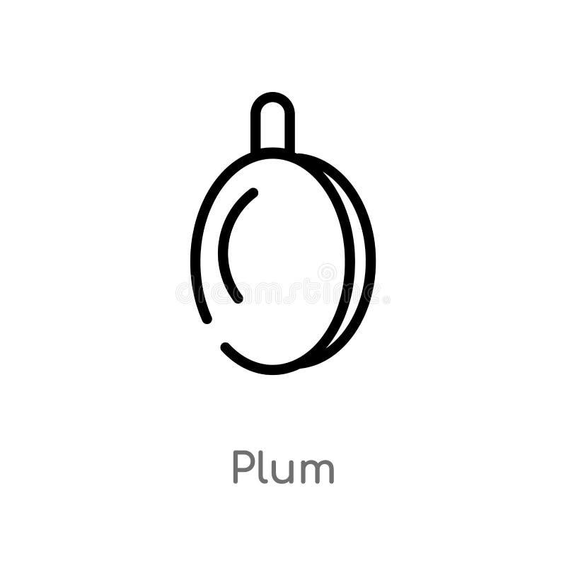 icono del vector del ciruelo del esquema línea simple negra aislada ejemplo del elemento del concepto de las frutas icono editabl stock de ilustración