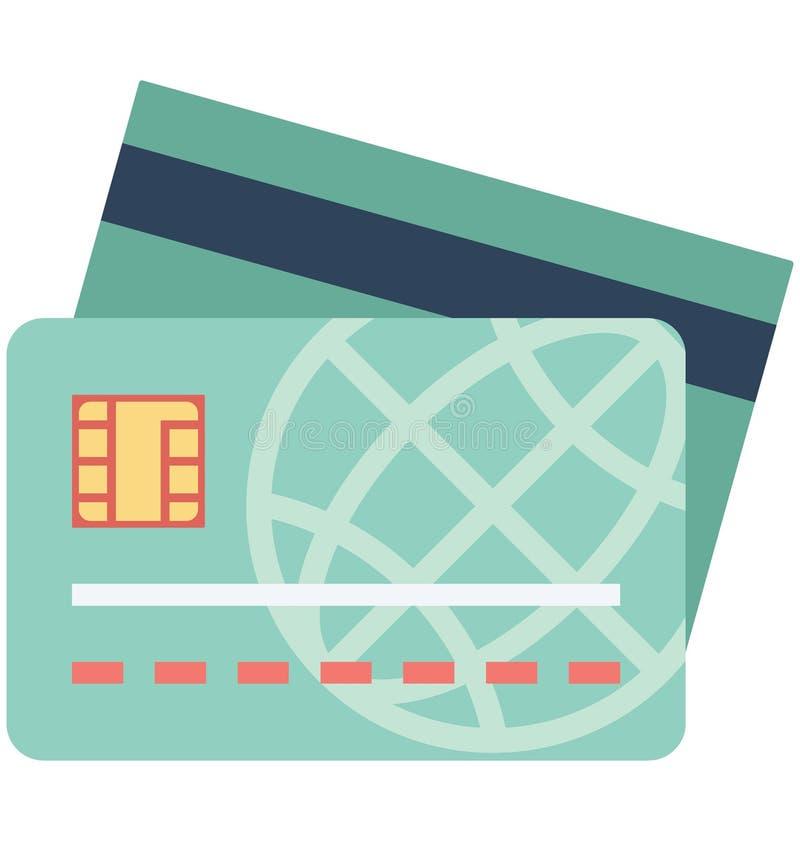 Icono del vector del color de la tarjeta de crédito que puede modificarse o corregir fácilmente ilustración del vector