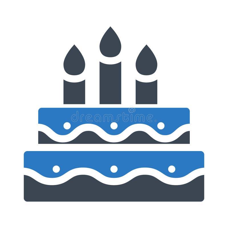 Icono del vector del color del glyph de la torta stock de ilustración
